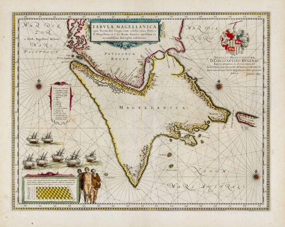 Altkolorierte Seekarte der Magellanstraße, Feuerland, Chile. Gedruckt bei Joan Blaeu im Jahre 1643 in Amsterdam.