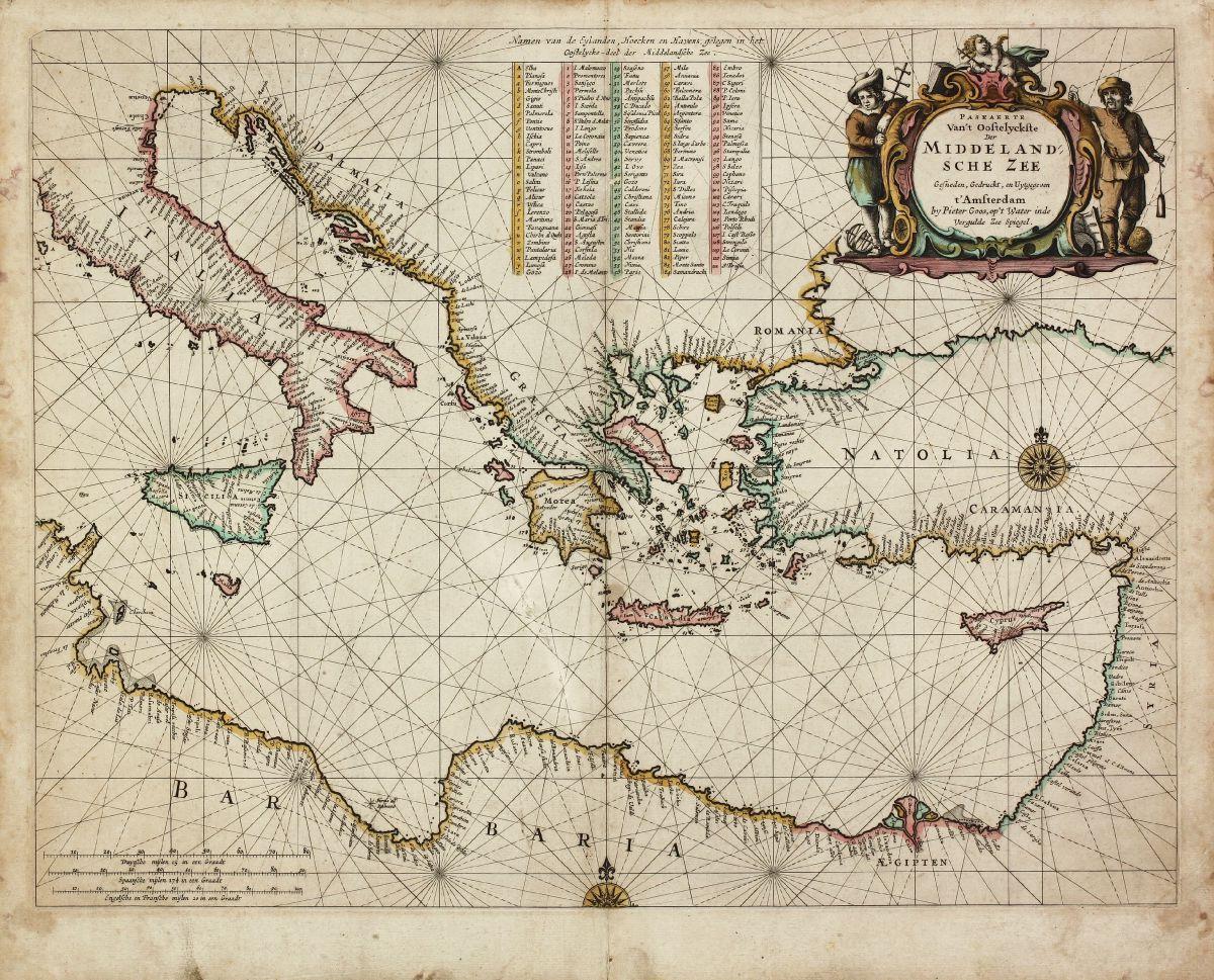 Altkolorierte Seekarte des östlichen Mittelmeers. Gedruckt bei Pieter Goos im Jahre 1666 in Amsterdam.