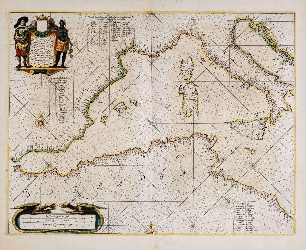 Altkolorierte Seekarte des Mittelmeers. Gedruckt bei Johannes Janssonius im Jahre 1650 in Amsterdam.