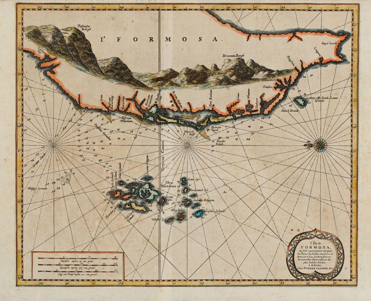 Kolorierte Seekarte von Formosa, Taiwan. Gedruckt bei P. van der Aa um 1720 in Leiden.